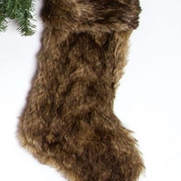 Luxe Faux Fur Stocking in Brown