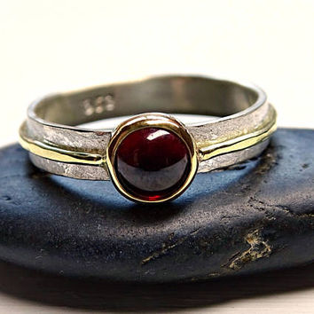 viking garnet ring, gold garnet ring, viking engagement ring, mens garnet ring gold silver, mens engagement ring, womens promise ring celtic