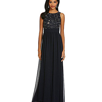 JS Collections Beaded-Bodice Chiffon Gown - Navy/Gunmetal