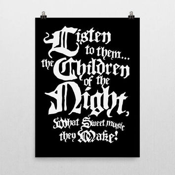 typography print, typography wall art, movie quotes, movie quote prints, goth, dracula, bela lugosi, horror, universal monsters, halloween