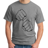 Knockout Fists T-Shirt - gray and black unisex tee