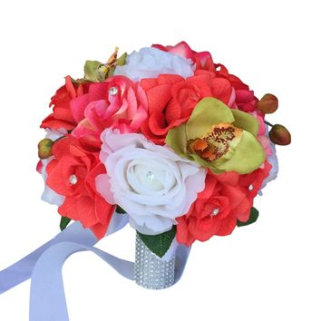 """10"""" Bouquet-Rose Orchid Coral White"""