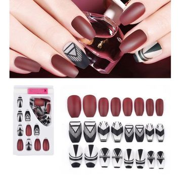 24 Tips/Set Fashion Fake Nails Elegant False Nails Plastic Nail Art Tips Ballerinas Full Cover False French Nail Tips with Glue