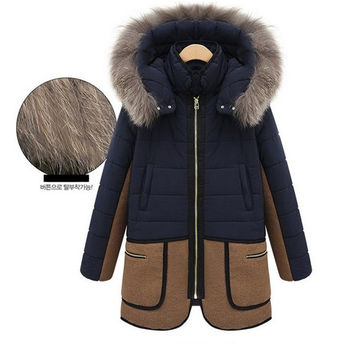 Women Stitching Contrastcolor Fur Collar Thicken Coat Jacket = 1932298692