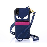 FENDI Hot ! Popular Mobile Phone Shell Phone Cover Case For iphone 6 6s 6plus 6s-plus 7 7plus 8 8plus X +Hang Rope Blue