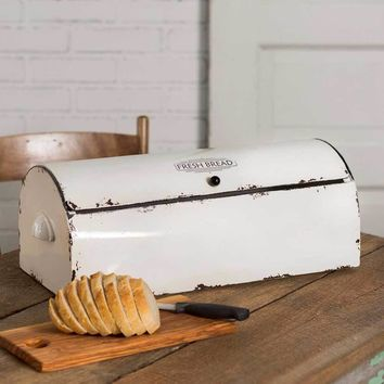 White Enamel Metal Bread Box Vintage Style Retro Farmhouse Country