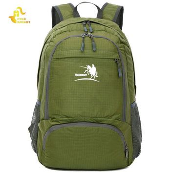 Climbing bag  Knight FK0716 Nylon Folding Backpack Water Resistant Schoolbag Sports Rucksack for Camping Hiking Traveling 2017 NEWKO_4_1