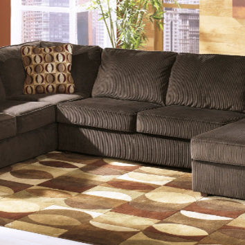 Ashley Furniture 68404-17-34-66 3 pc vista chocolate cordy fabric sectional sofa set