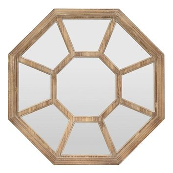 Three Hands Octagon Wood Wall Mirror - 32-in
