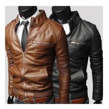 New Arrive Arrive Leather Jacket Men Slim Fit Coat Stand Collar PU Male Leather Jacket With Zipper Outerwear Casual Leather Coat