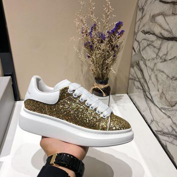 Alexander McQueen Women Men Fashion Casual White and Gold sports shoes Size 36-45