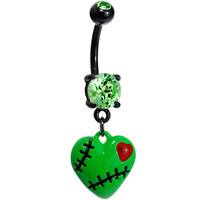 Peridot Green Gem Stitched Up Zombie Heart Belly Ring | Body Candy Body Jewelry