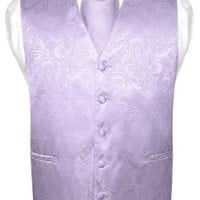 Men's Paisley Design Dress Vest & NeckTie LAVENDER Purple Color Neck Tie Set