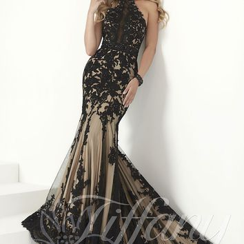 Tiffany Designs 16150 Jeweled Lace Trumpet-Style Gown