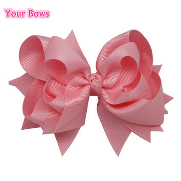 Your Bows 1PC 5 inches Baby Hair Bows 3 Layers Solid Light Pink Hair Clips Boutique Ribbon Bows For Girls Hair Accessories