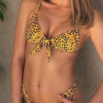 Leopard Printed Front Knot Two Piece Bikini