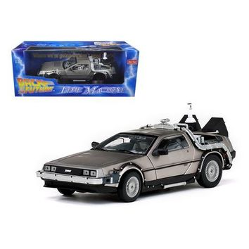 """Delorean Time Machine From """"Back To The Future II"""" Movie 1/18 Diecast Model Car by Sunstar"""