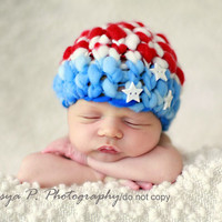 IN STOCK Newborn Patriotic American flag hat by BeezyMama on Etsy