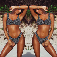 Polka Dot Sleeveless Crop Two Piece Swimsuit
