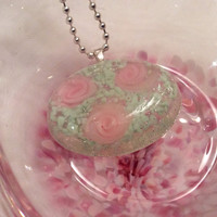 Pink and Green Rose Pendant / Necklace.  Resin Pendant with Ribbon Rose.  Feminine Floral Jewelry.