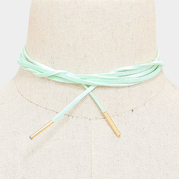 Long Gold & Mint Suede Tie Choker Necklace