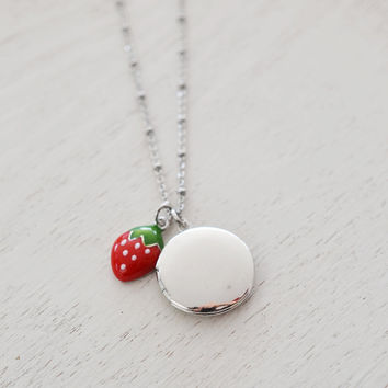 silver round locket,fruit locket,bff gift,sister gift,bridesmaid,disney inspired,red strawberry locket,birthday gift,newborn keepsake locket