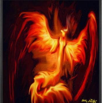 Phoenix Bird fantasy Digital Painting signed art print A2 59 x 42 cm mythical wildlife nature