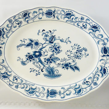 Double Phoenix, Ming Tree Pattern Ironstone Dinner Plate, Dark Blue and White Plate
