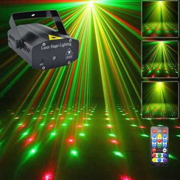 AUCD Mini Portable IR Remote RG Meteor Laser Projector Lights DJ KTV Home Xmas Party Dsico LED Stage Lighting OI100B