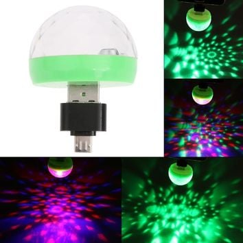 Mini USB LED Party Light Portable Crystal Magic Ball for Home Party Karaoke Decorations Colorful Stage LED Disco Light