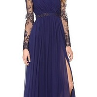 Navy Blue Sheer Lace Long Sleeve Cross Wrap V Neck Thigh Slit Maxi Dress Gown