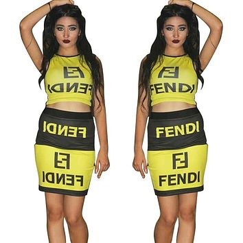 Fendi Fashion New Summer Letter Print Vest Top And Skirt Leisure Two Piece Suit Yellow