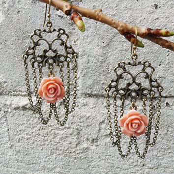 Ornate baroque inspired earrings, chain chandelier rose earrings, dusky pink resin rose, antique bronze, baroque earrings, UK seller
