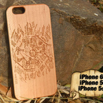 Dharma Door, Lost TV Show, Engraved iPhone 6 5 5s Wood Case, Made from Genuine Walnut or Cherry