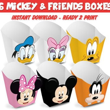 6 Popcorn Box Mickey & Friends - Ready to print - Instant Download