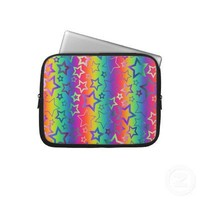 Psychedelic Rainbow Stars Laptop Computer Sleeve from Zazzle.com