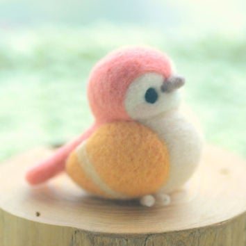 Handmade bird figurine, needle felted bird doll, Blushing bird collection - red and orange color, home decor ornament, gift under 30