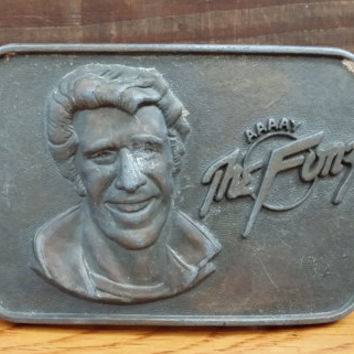 Vintage Brass Official Aaaay The Fonz Happy Days Fonzie Belt Buckle Paramount Pictures Great Retro Accessory