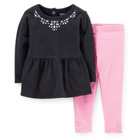 2-Piece Peplum Top & Neon Legging Set