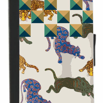 Wild Cats Pattern w/ faux Pyramid Studs Phone Case/Wallet