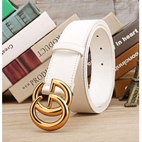 GUCCI Trending Woman Smooth Metal Buckle Belt White Leather Belt I