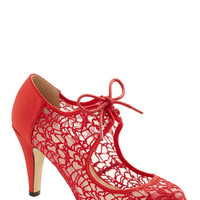 ModCloth Vintage Inspired To Thee I Web Heel in Red
