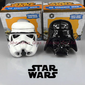 3D water/coffee Cup, Star Wars Darth Vader and the white knight ceramic lovers cup creative personality kids baby Christmas gift