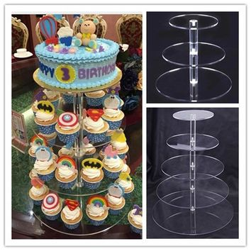 Urijk Acrylic Cake Stand Round Cup Cupcake Holder Wedding Birthday Party Decorations Events Dessert Sugarcrafts Display Stands