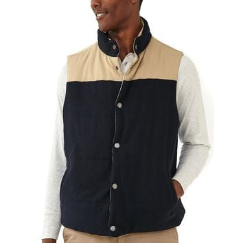 Reversible Vest in Navy Flannel with Dune Shell by The Normal Brand - FINAL SALE