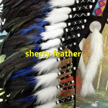 28inch royal blue Indian Feather headdress chief indian warbonnet dancewear halloween costume feather bonnet