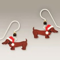 Sienna Sky Christmas Dachshund w/Santa Hat Earrings