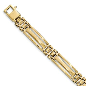 10mm 14k Yellow Gold Polished Bar and Panther Link Bracelet, 8.5 Inch
