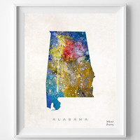 Alabama Map, Watercolor, Home Town, Poster, art, USA, States, Wall Decor, Painting, Birmingham, Montgomery, Crimson Tide, Talladega [NO 318]