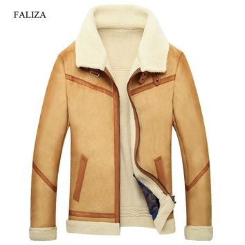 FALIZA Winter Outerwear Mens Faux Fur Coat Male Leather Jacket Fleece Lined Velvet Thick Slim Thermal Large Fourrure SM-JK-F